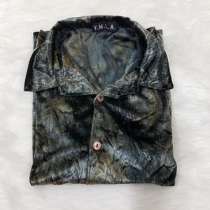 Vintage Velvet Button Up Blue Grey Tone Blouse